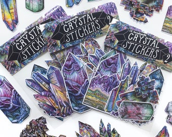 Crystal Sticker Pack #2 - 12 Handmade Stickers, from Watercolour Ink Illustrations Art Bundle Packs Quartz Amethyst Mineral Minerals Point