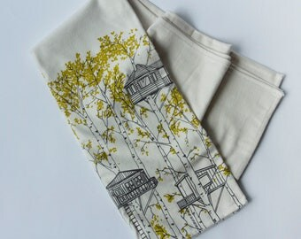 SALE 20% OFF - Organic Cotton Baby Blanket - Crib Size - Yellow Treehouses