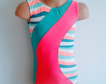 SALE!!! 20% OFF! Girls 5 Ready to Ship. Gymnastics Dance Leotard  Jade Coral with Stripe inserts.