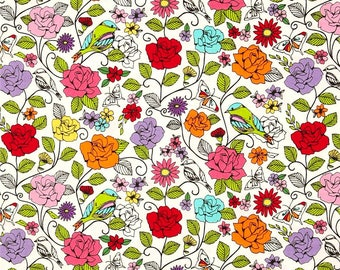 Michael Miller Spring Fling-  White - 1 yard