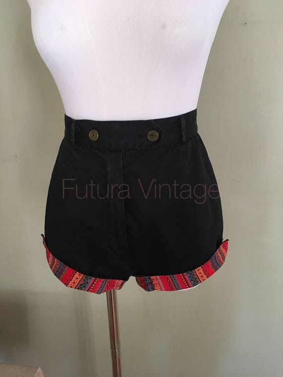 1950s Short Stuff by Wolfson Black High Waist Cotton Shorts with Contrast Cuffs and Pockets-XS S