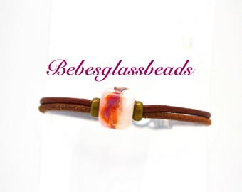 Leather Beaded Bracelet, Bead Bracelet, Leather Bracelet, Pink Bead Bracelet, Handmade Jewelry, Woman's Bracelet, Fashion Jewelry, Bracelet