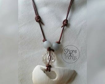 Nautical FL Sea Shell Clam Corded Necklace - Adjustable Sliding Knots