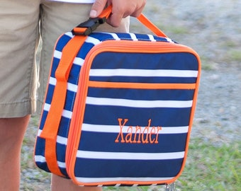 Monogrammed Navy and Orange Line-Up  Lunchbox; Perfect for Boys; Back to School