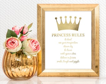printable artwork princess rules in faux gold - girls room decor, nursery art for girls, download, crown, pretty, downloadable art for girls