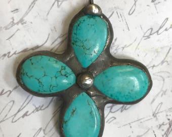 Howlite Turquoise Soldered Gemstone Cross Pendant Briolette Drops Cross Pendant Bohemian Metalwork jewelry supplies altered art