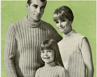 PDF Vintage Patons Beehive 2066 Knitting Pattern - Poor Boy Trio in Astra - Turtleneck Sweater for Men, Women and Children Instant Download