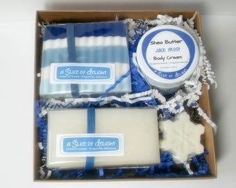 Soap Gift Set , Winter Soap Gift Set , Glycerin Soap, Shea Butter Body Cream,  Hanukkah Soap Set, Christmas Soap, Gift Set for Her