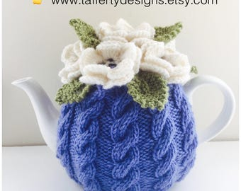 Floral Cabled Tea Cosy in Pure Wool - Size Medium - fits medium 6-cup teapots