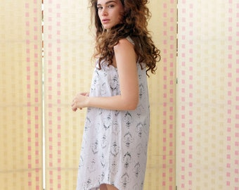 Summer Shirt  Dress Sleeveless Button- down 100% Cotton White with blue lightweight