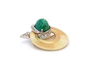 BOUCHER Brooch Peking Glass Rhinestone | Signed Small Green Circle Pin | Vintage 1960s Jewelry