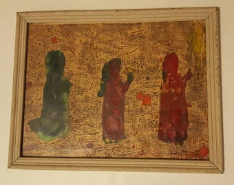 Unique Mid-century  (60s?/70s?) Painting. Framed in antique Frame. Mixed Media.