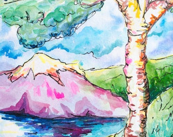 Birch Tree Landscape with Mountain and Lake