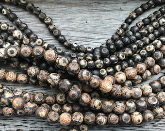 Matte Black & Brown Tibetan Etched Agate, Etched Agate beads, Etched Agate, Tibetan Agate, bead strands, gemstones, gemstone bead strands