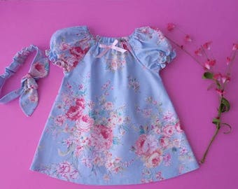 Girls and babies blue peasant style dress with pink flowers and matching top knot headband