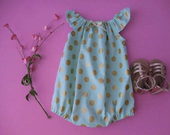 Sunsuit romper playsuit for babies and toddlers mint green with gold metallic dots