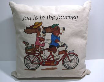 """Basset Hound Pillow - """"Joy is in the Journey"""""""