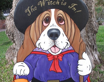 """Hand Painted Basset Hound Halloween Yard Art- Samantha the Witch Puppy """"The Witch is In"""""""