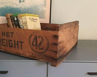 Vintage wooden box or crate, numbered, typography