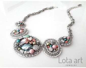 One of a kind statement necklace -boho style -romantic necklace - flower necklace