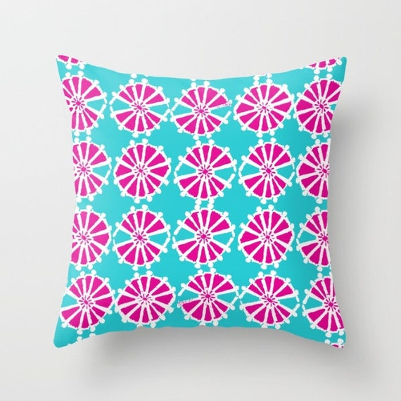 OUTDOOR Throw Pillow - Aqua Fuchsia Outdoor Pillow - Magenta patio cushion - Modern Geometric Pillow Wheel -  16 18 20 inch - Outside Pillow