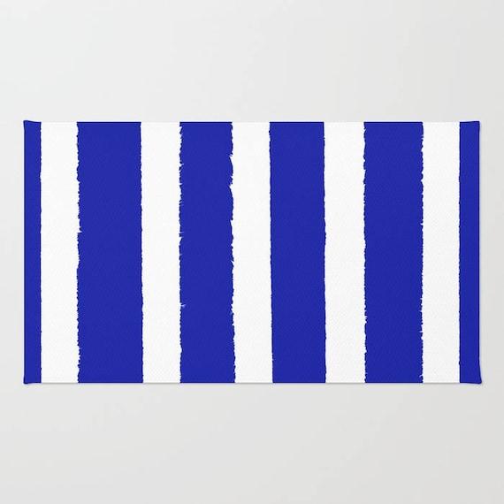 Azure Blue and White striped rug - Area Rug - Throw Rug - Blue Carpet - Accent Rug - Floor Rug - Stripe Rug - 2 x 3 rug - 3 x 5 rug - 4 x 6