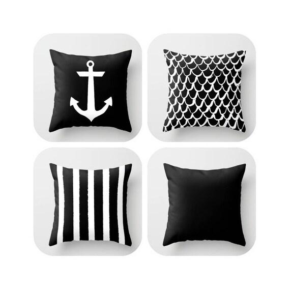 Black and White Throw Pillow - Mermaid Pillow - Anchor Pillow - Coastal Pillow - Striped Pillow - Cushion Throw Pillow 16 18 20 24 inch