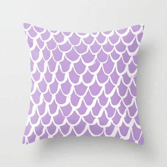 Lavender and White Mermaid Throw Pillow - Lilac Pillow - Amethyst Cushion - Mermaid Pillow - Lavender Pillow - Cushion 16 18 20 24 inch