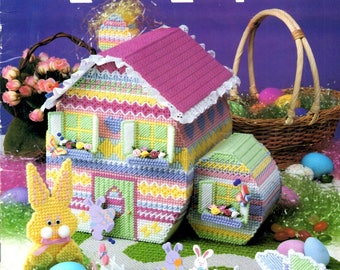 Plastic Canvas Easter Egg Party Large House GaragePicket Fence Butterfly Rabbit Basket Needlepoint Embroidery Craft Pattern Leaflet 3071
