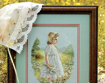 Daisy Girl Long Dress Matching Bonnet Mountain Field Trees Flowers Counted Cross Stitch Embroidery Craft Pattern Leaflet Leisure Arts 2616