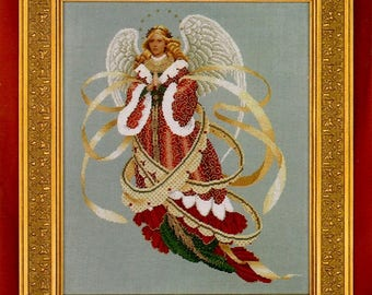 Angel of Christmas Long Red Gown White Wings Gold Ribbons 13.25 x 16.5 Counted Cross Stitch Embroidery Craft Pattern Pamphlet