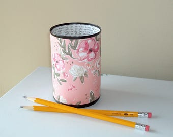 Salmon Pink Floral Desk Accessories, Pencil Holder Cup, Desk Organizer, Makeup Brush Holder, Fun Dorm Decor, Coworker Gift 1098