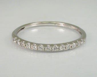 Vintage Estate Diamond Wedding Ring - 14K White Gold - 13 Diamonds