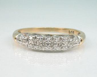 Vintage Diamond Wedding Ring – 12  Diamonds - 14K Gold