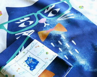 Blue Cat Tea Towel, Geeky Cat Kitchen Towel, Hipster Cat Home Ware, Cats wearing Spectacles