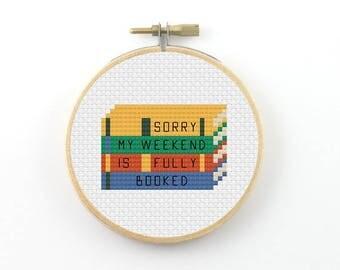 Stack of books cross stitch pattern,  pdf pattern, back to school cross stitch, geek cross stitch, funny cross stitch, student cross stitch