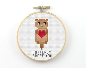 I otterly adore you cross stitch pattern, otter pdf pattern, funny cross stitch, otter cross stitch, I utterly adore you, valentine gift