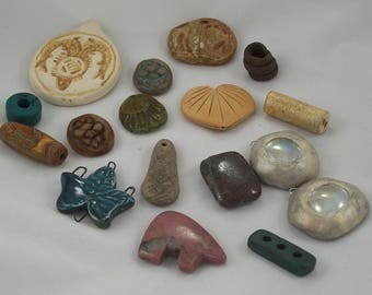 Destash! Assorted Beads Pendants Charms Polymer Clay Ceramic Stone by ceeceedesigns on etsy