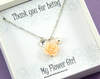 Flower Girl Necklace,Flower Girl Thank You,Personalized Flower Girl Necklace,Flower Girl Gift Junior Bridesmaid
