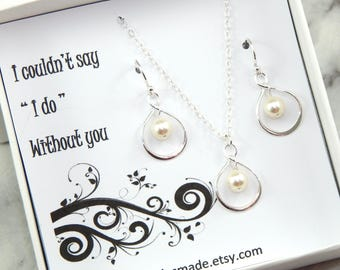 Bridesmaid Necklace and Earrings Set, Choose Your Color Bridesmaid Gift Boxed Necklace,Bridesmaid Gift, infinity necklace, pearl necklace.