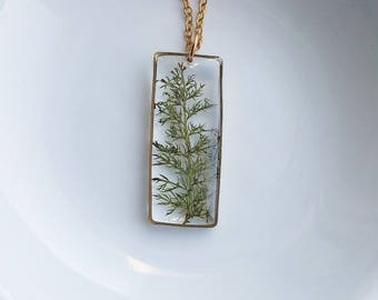 Pressed Fern Necklace, Pressed Flower Jewelry, Nature Gift, Green Fern Necklace, Resin Jewelry