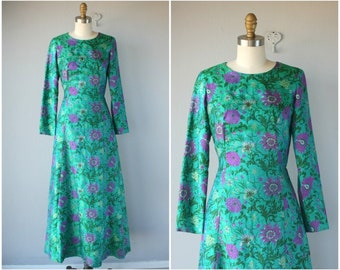 Vintage 1960s Maxi Dress • 60s Dress • 1960s Dress • 60s Maxi Dress • 1960s Floral Gown • 70s Silk Dress  -  (small)