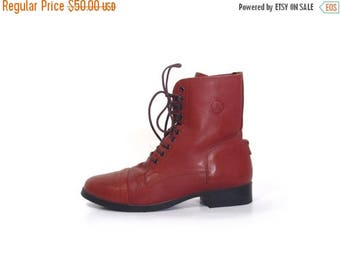 30% OFF Vintage 80s Maple Brown Leather Lace Up Combat Ankle Boots women 8 rustic boho Fall Fashion preppy rustic preppy indie hipster vesti