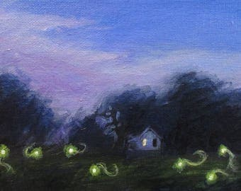 Lightning Bugs - original daily painting by Kellie Marian Hill