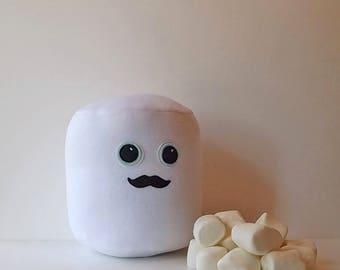 Marshmallow, the  Mustachioed Muchacho, HANDMADE Pillow
