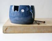 IN STOCK - The 'wool' yarn bowl, hand thrown custom pottery yarn bowl in ocean blue
