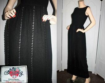 Vintage 1960's Black Wool Lanz Original Button Back Maxi Dress. Small.