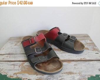 SUMMER SALE Triple Strap Buckle Sandal Minimal Leather Flat Sandals, Leather Strappy Sandals, Slippers, Slip On, Birkenstock Style, Flats 8.