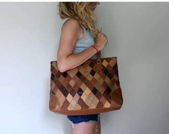 SUMMER SALE Leather Tote, Brown Leather Bag, Brown Leather Purse, Shoulder Bag, Large Bag, Patchwork Leather, Handbag, Oversized, Tote BOHO