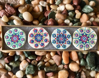 Painted Wooden Mandala Magnet Set